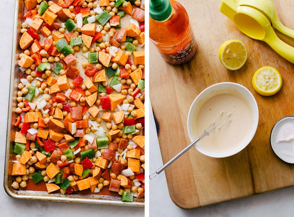 chickpea sweet potato breakfast hash on a sheet pan ready for roasting, and spicy sriracha tahini dressing in a small white bowl