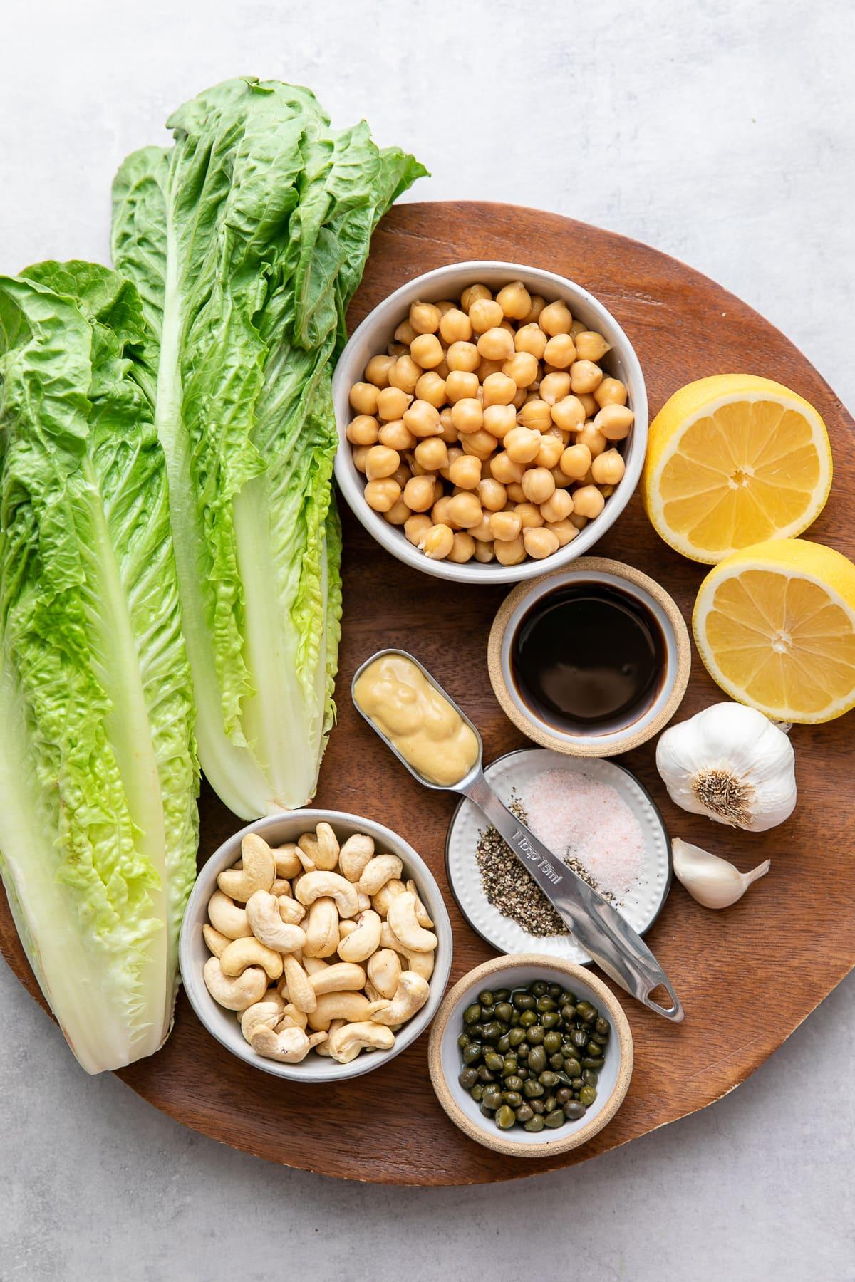 top down view of ingredients used to make vegan caesar salad recipe.
