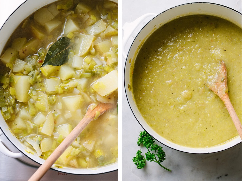 potato leek soup simmering in a pot and pureed