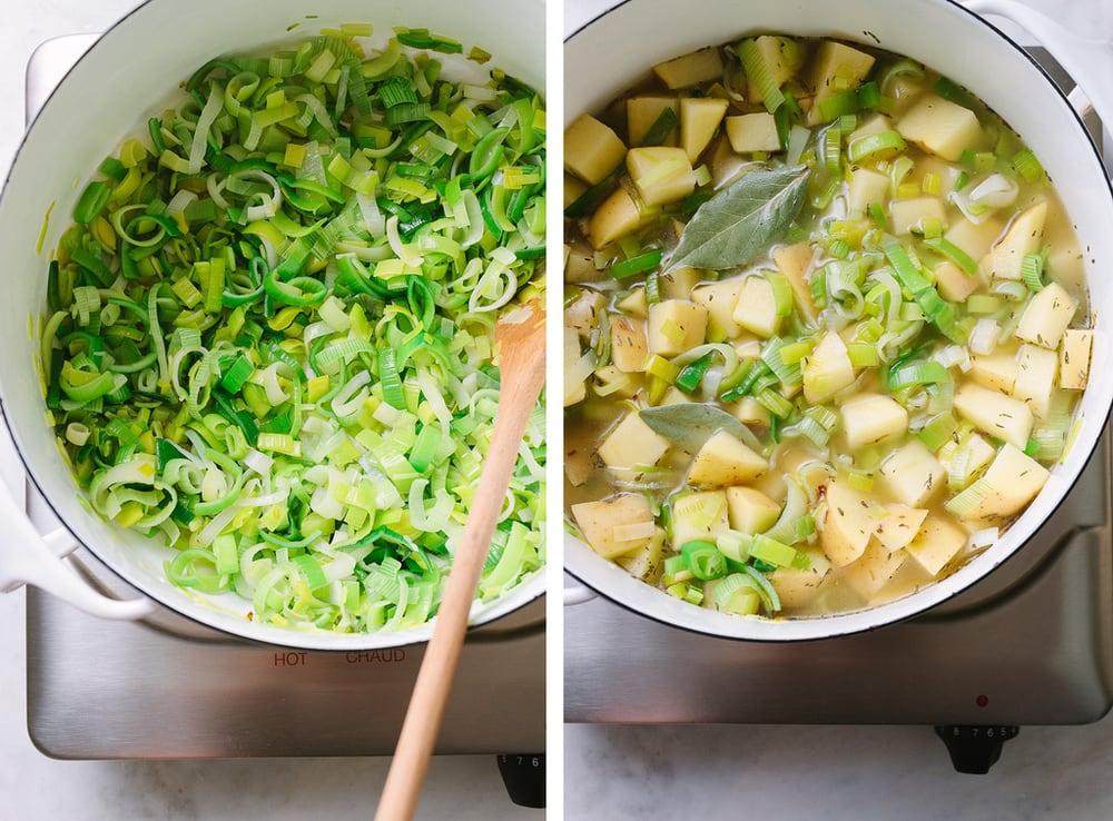 healthy vegan potato leek soup simmering