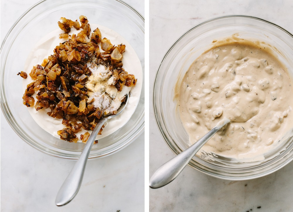 vegan french onion dip: mixing ingredients together