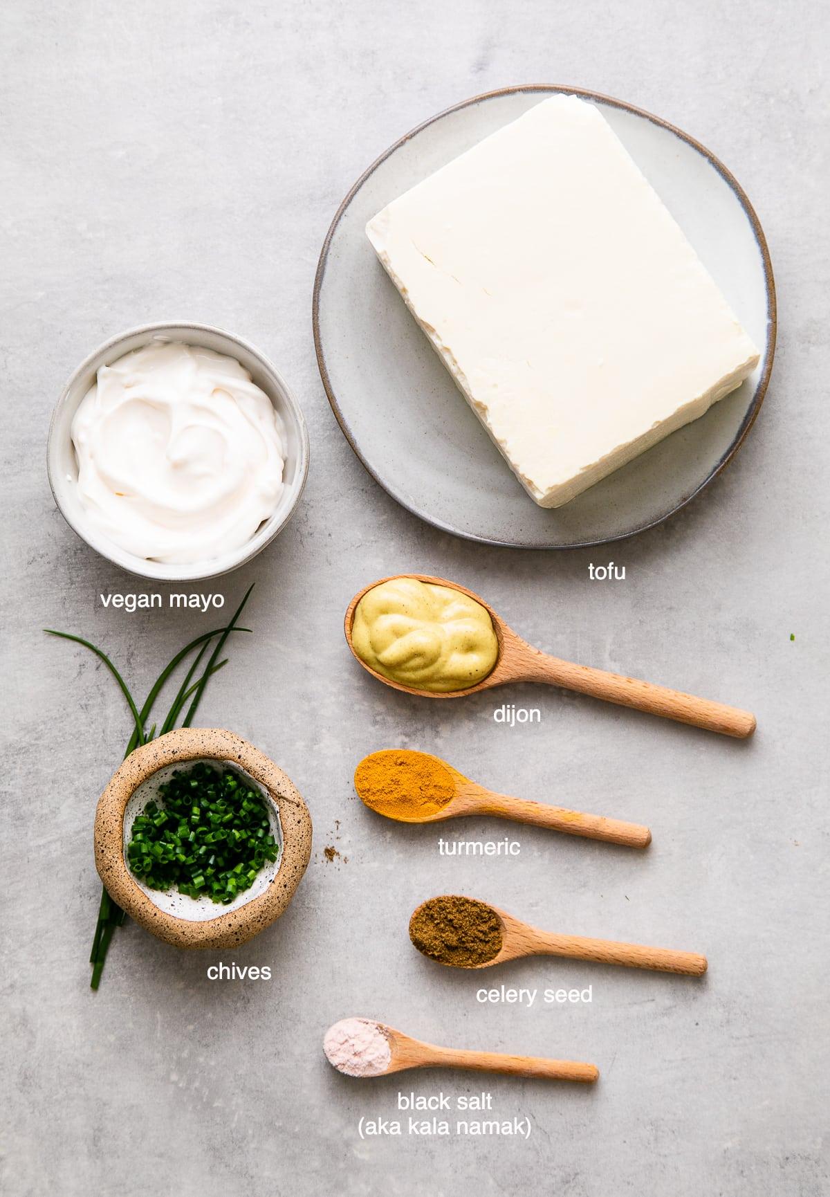 top down view of ingredients used to make best vegan egg salad.