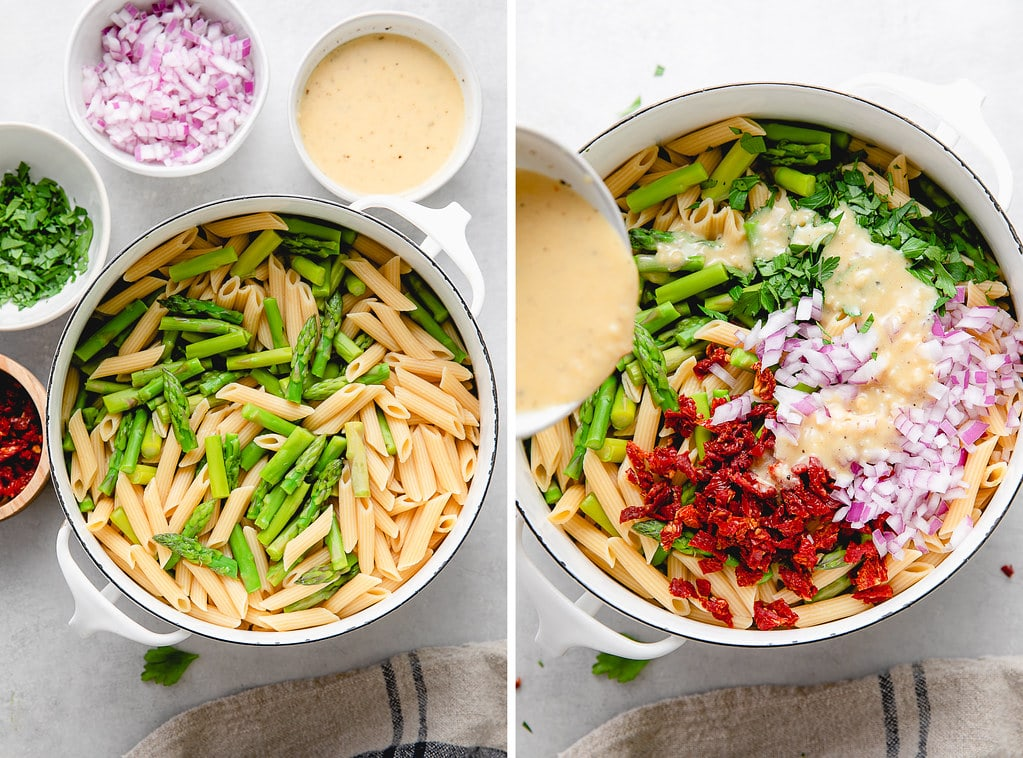 side by side photos showing the process of making asparagus pasta salad.