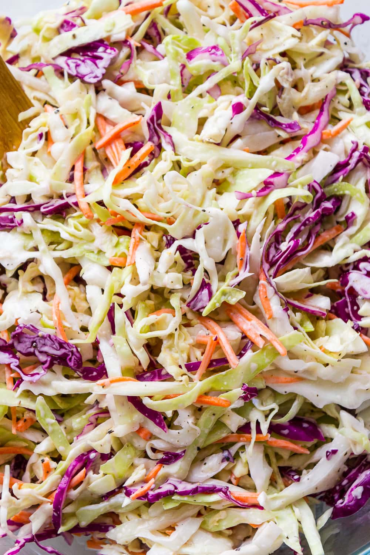 up close view of creamy vegan coleslaw.
