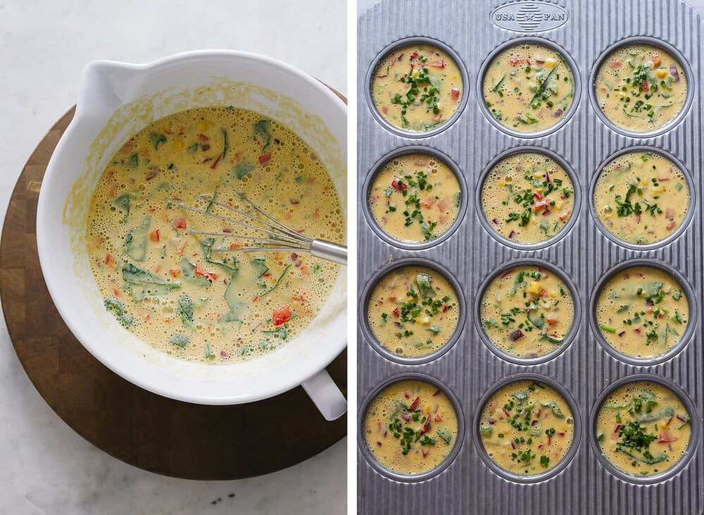 side by side photos of the process of adding the chickpea flour frittata batter to muffin tin holes.