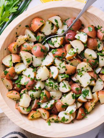 top down view of vegan herbed potato salad.