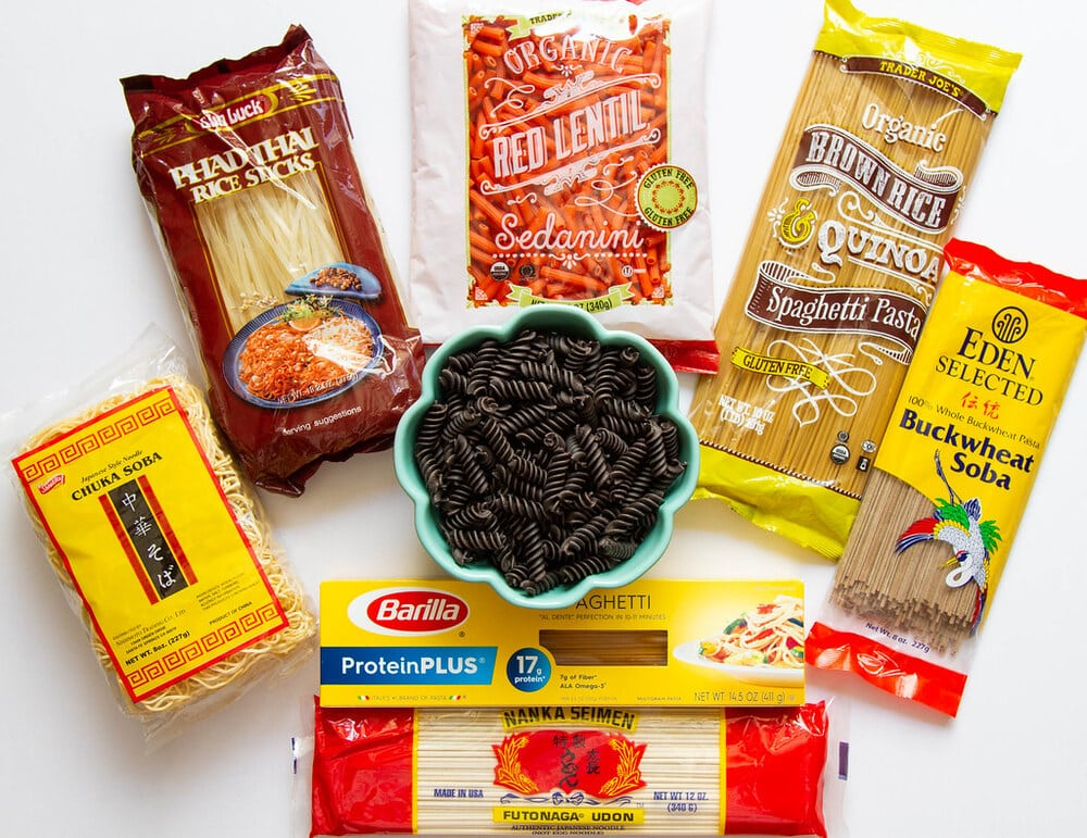 a variety of different styles of pasta for a vegan pantry.