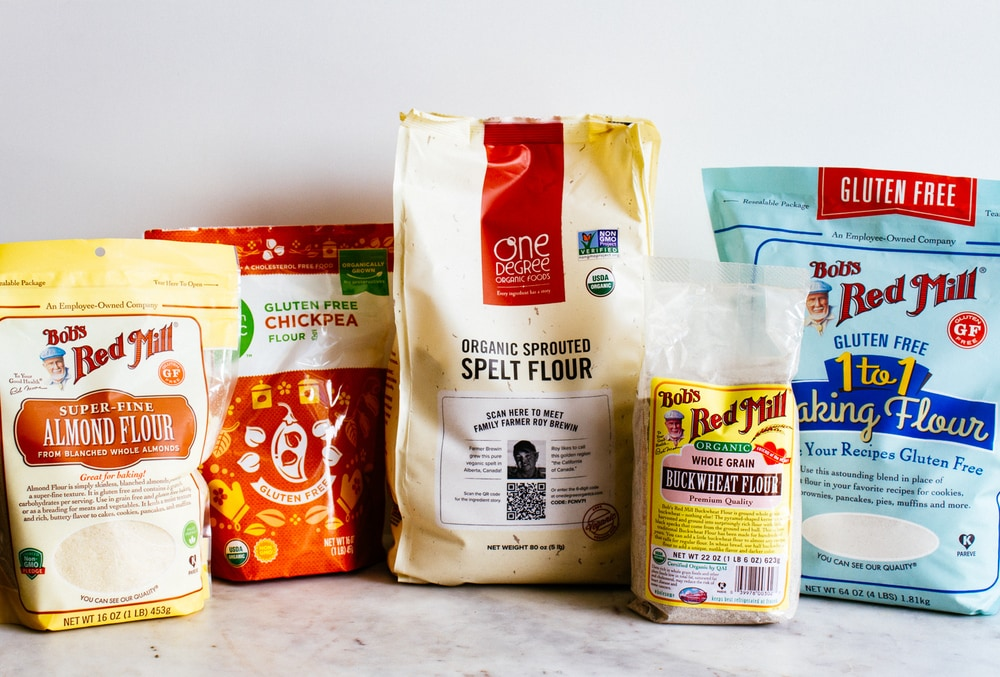 an assortment of healthy flours for a vegan pantry.