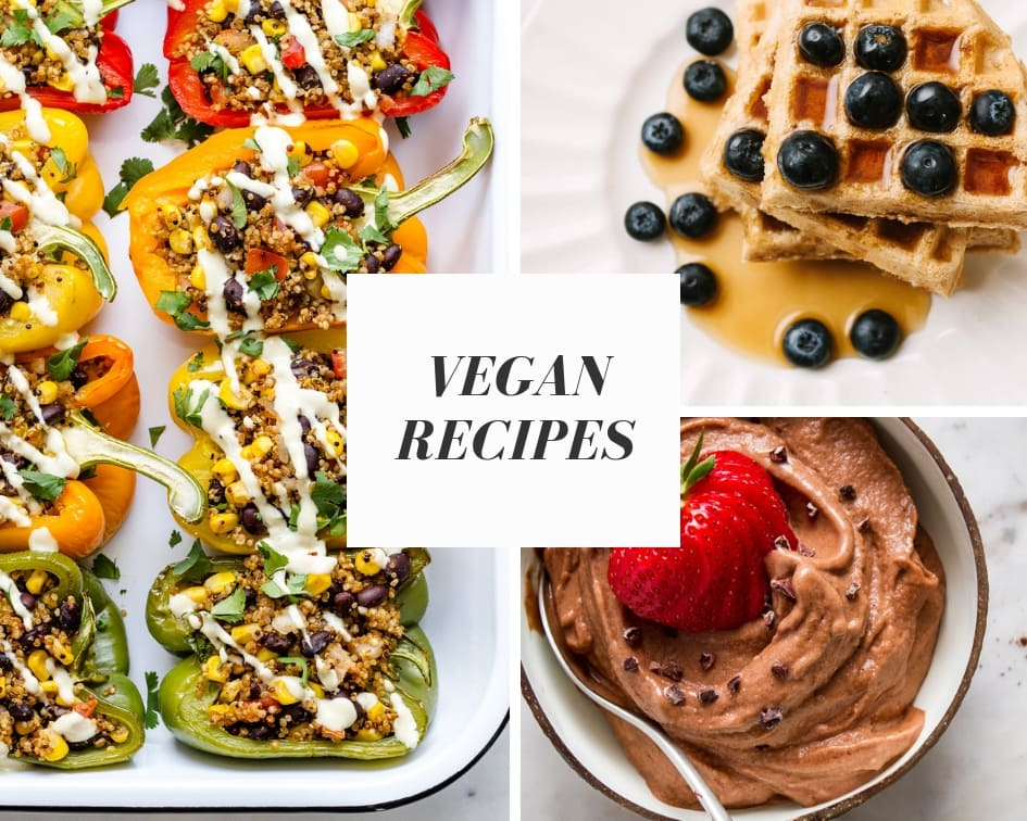 vegan recipe collage.
