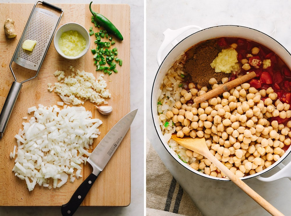 side by side photos of process of prepping ingredients for easy chana masala recipe.