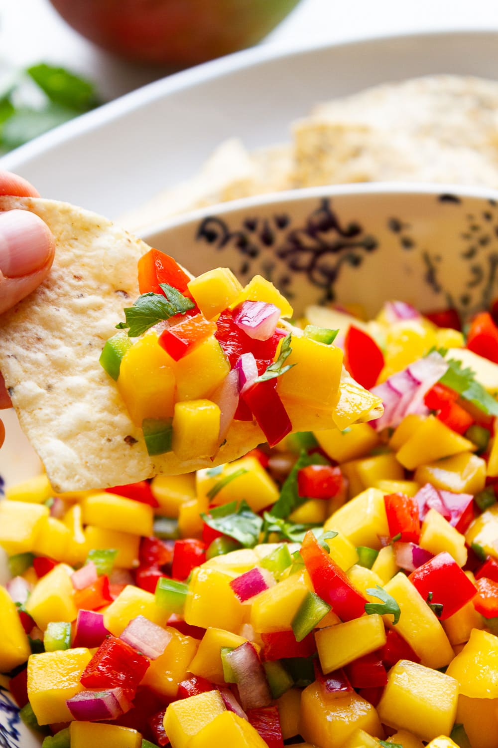 side angle view of a tortilla chip scooping up mango salsa from a bowl.
