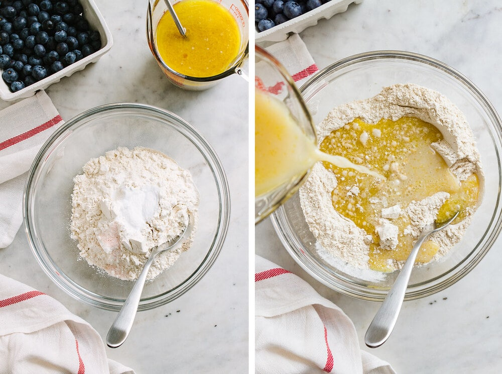 side by side photos of the process of making easy vegan blueberry muffin batter.