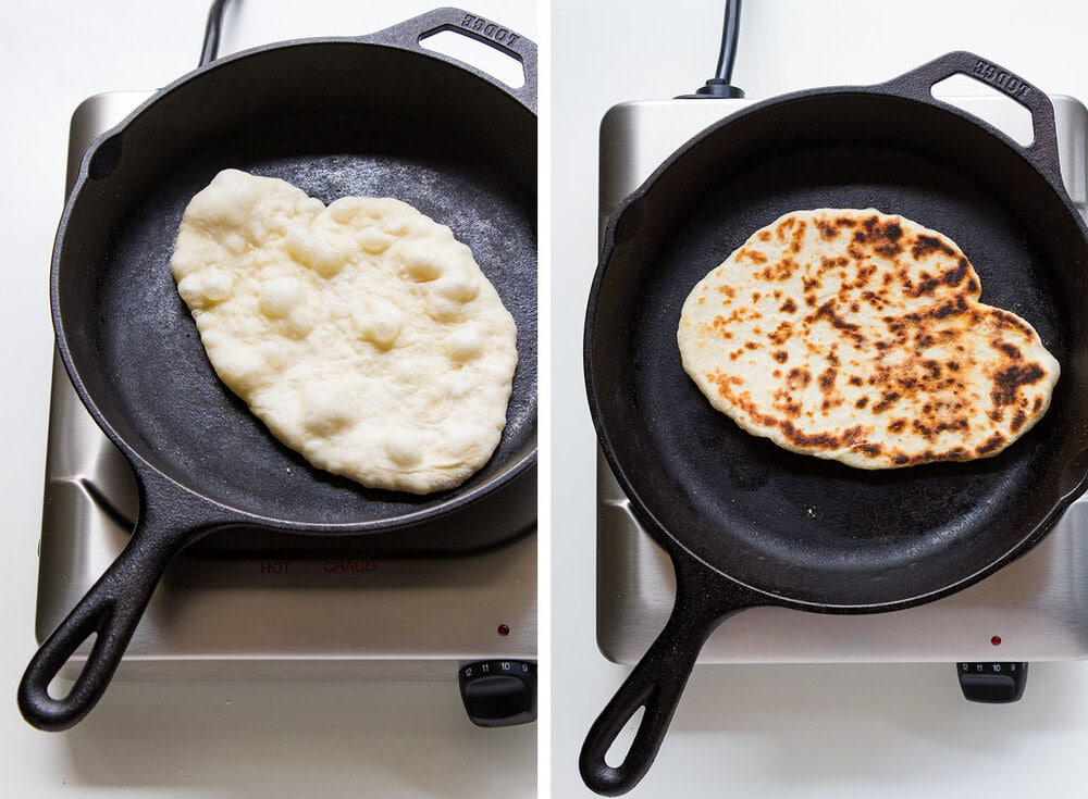 top down view of process of cooking vegan naan bread in a skillet.