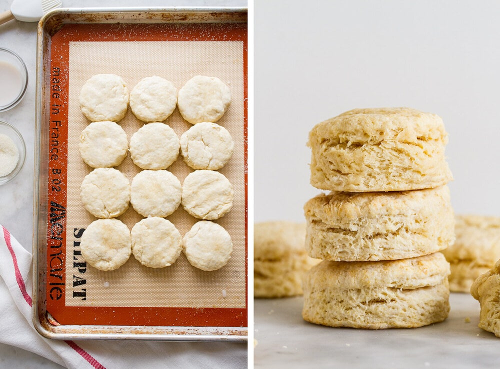 side by side photos of biscuits on a baking sheet ready for the oven and baked biscuits stacked.