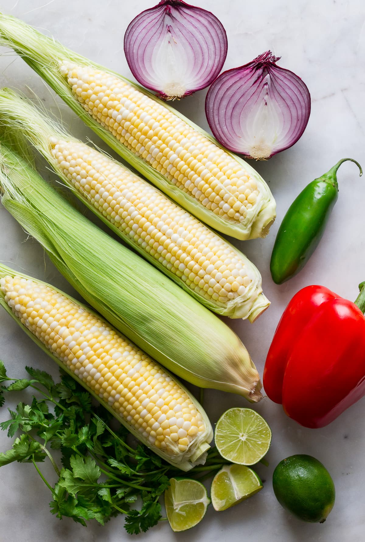 top down view of ingredients used to make best corn salsa recipe.