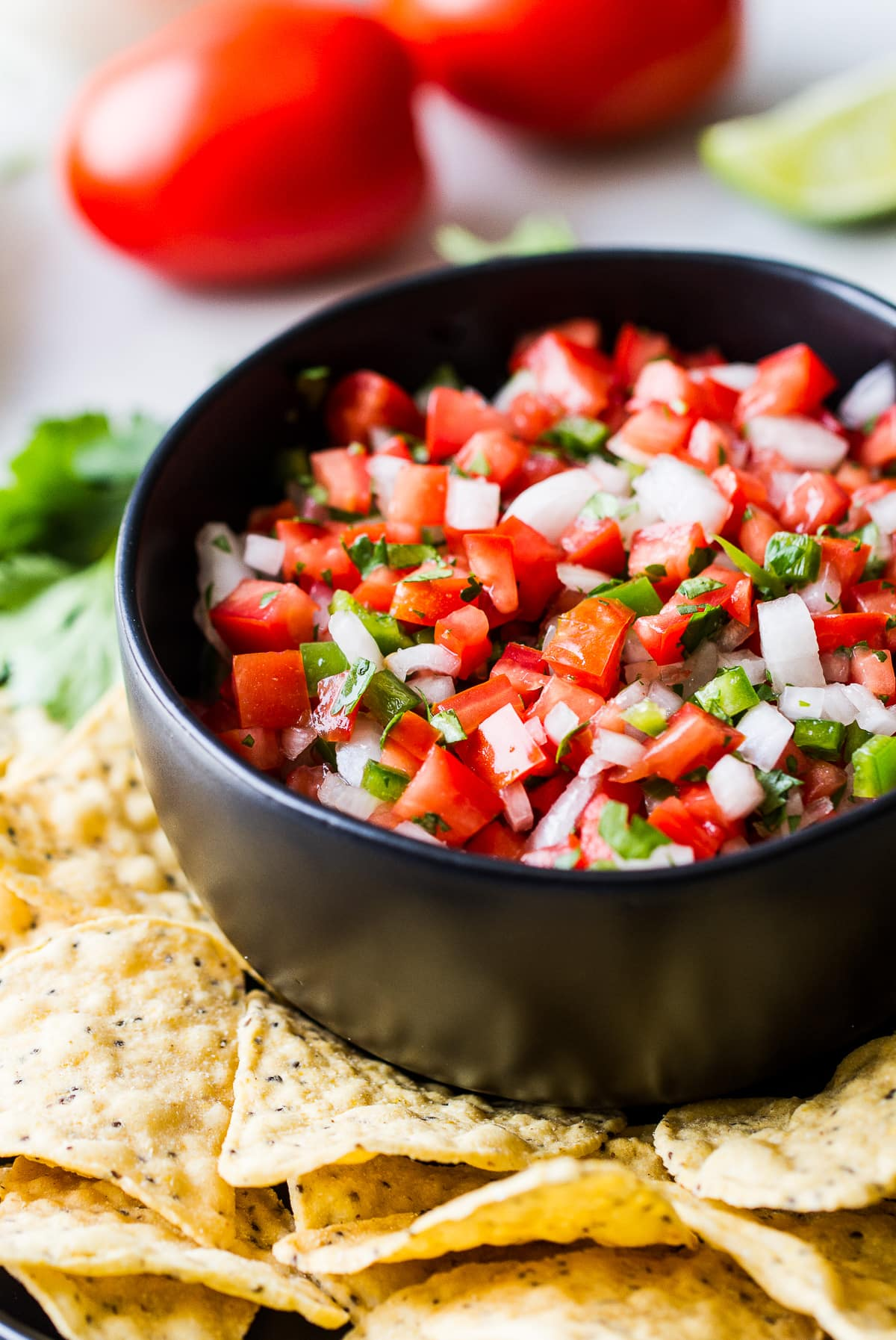side angle view of a bowl with fresh pico de gallo surrounded by tortilla chips.