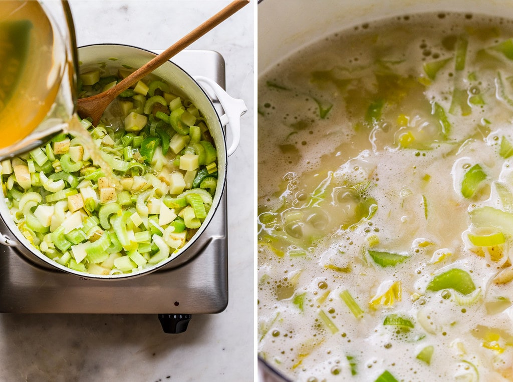 side by side photos showing to process of simmering simple celery soup.