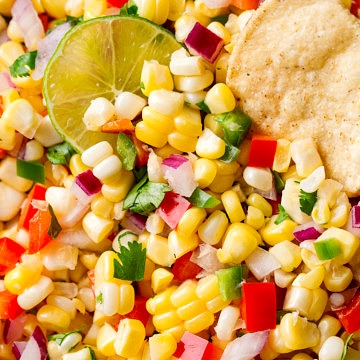 up close view of fresh corn salsa.