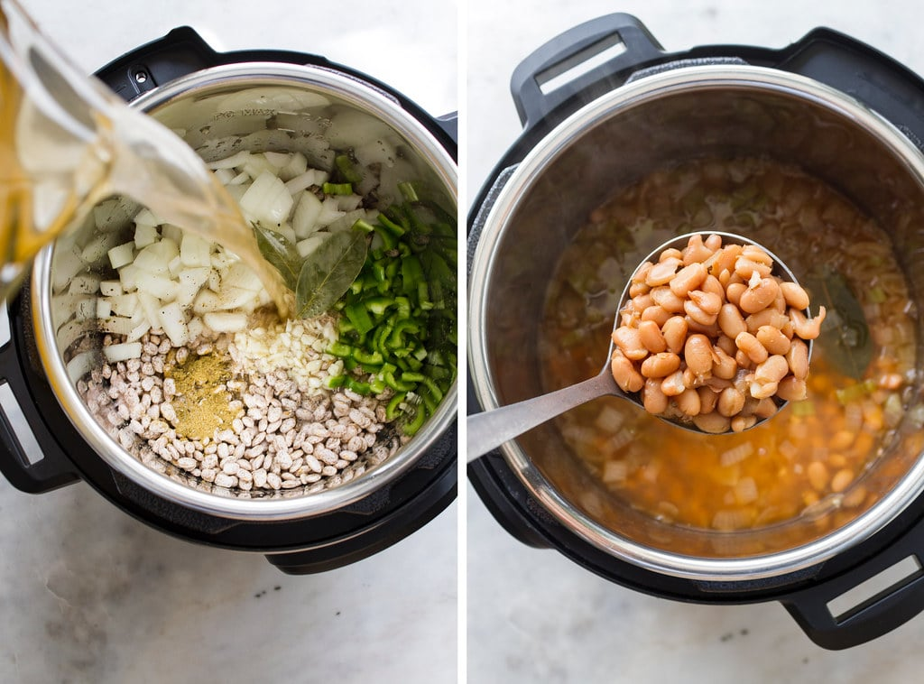 side by side photos of the process of making instant pot vegan refried beans.