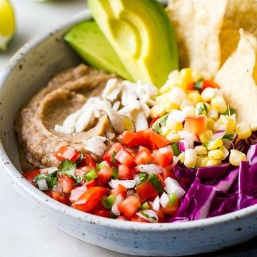 side angle view of easy vegan nacho bowl.
