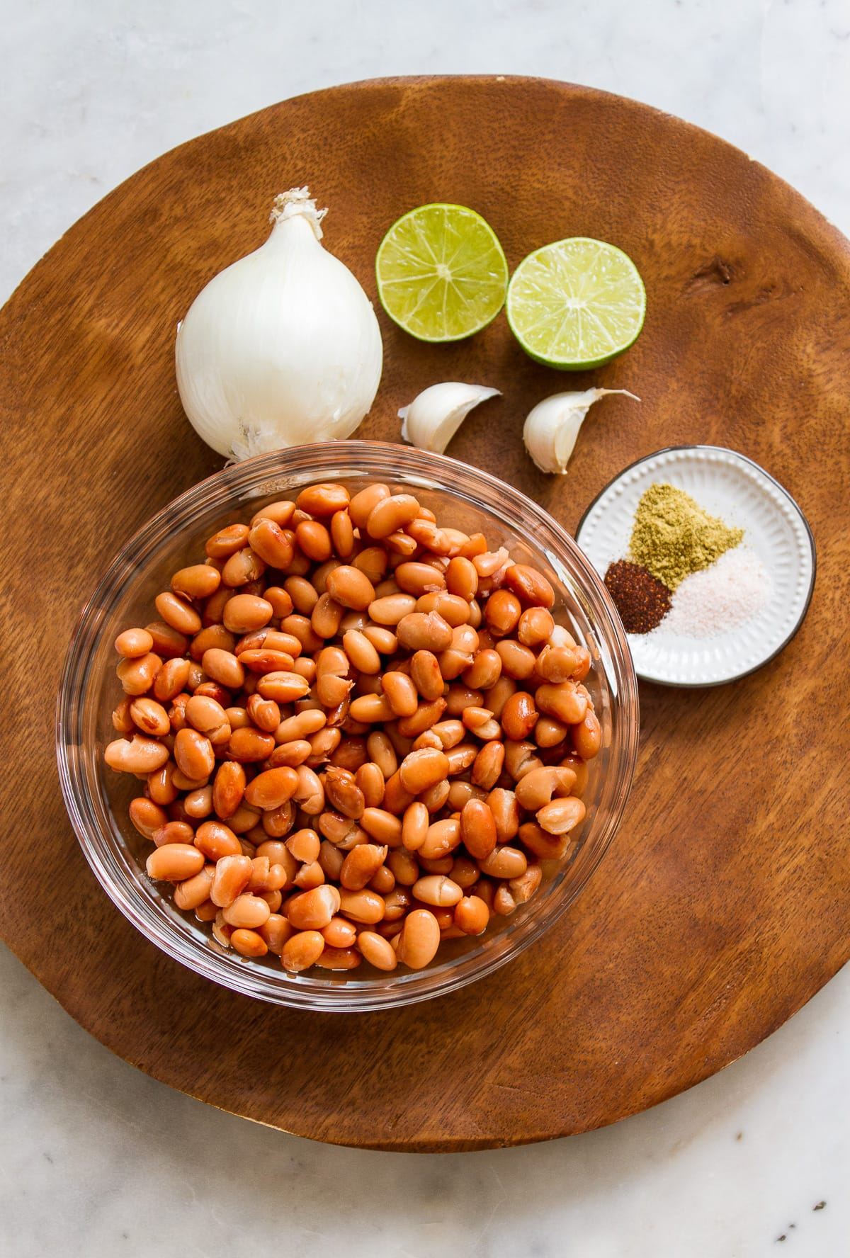 top down view of ingredients needed to make easy refried beans.