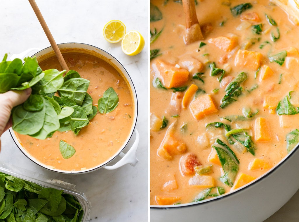 side by side photos showing the process of adding spinach to west African peanut stew.