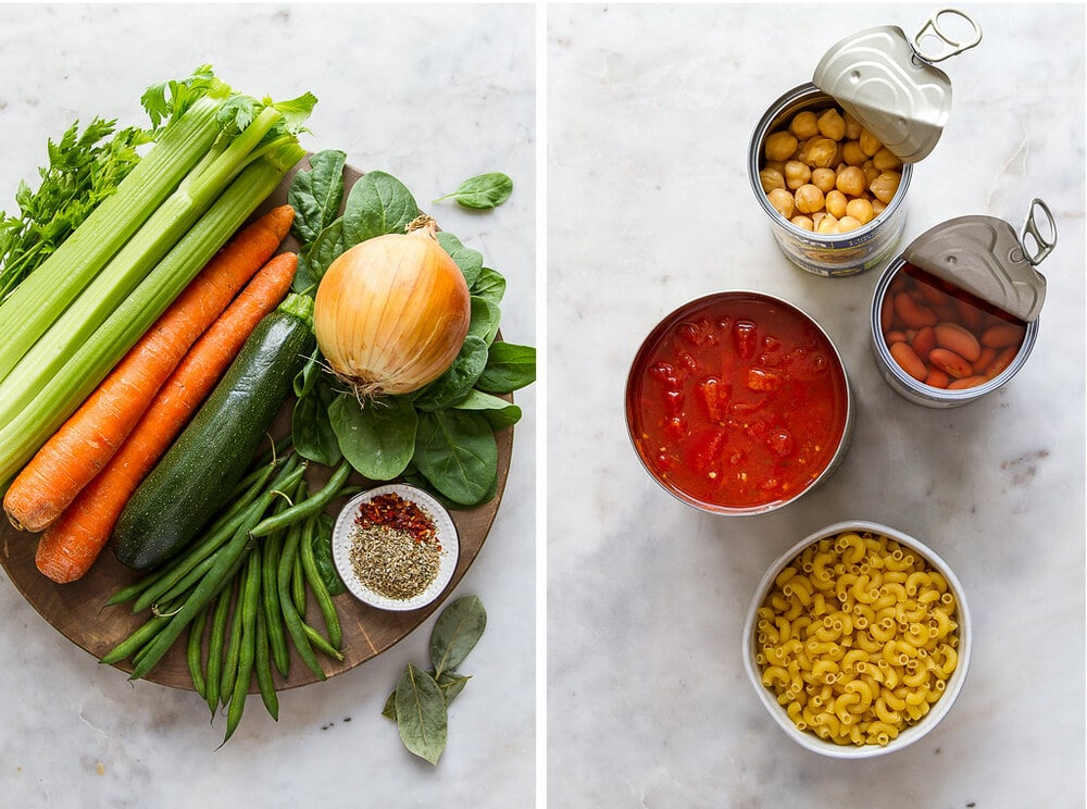 side by side photos of the ingredients needed to make vegan minestrone soup.