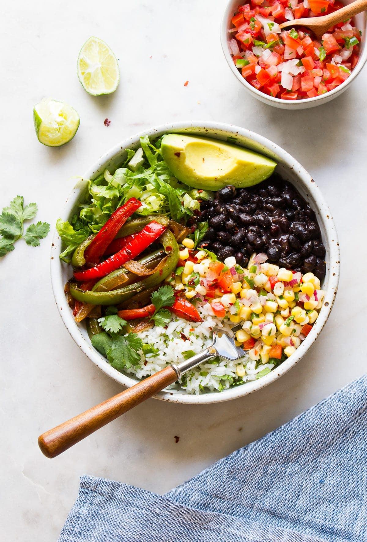 top down view of vegan black bean burrito bowl.