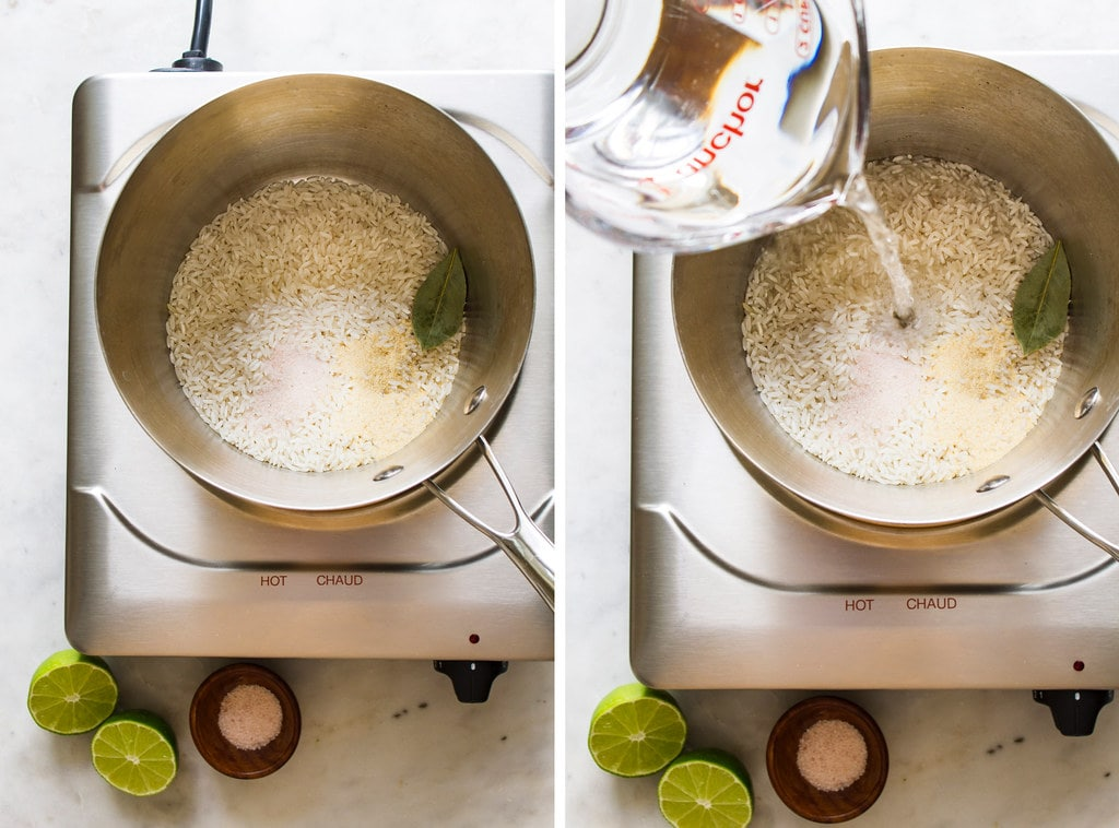 side by side photos of the process of making cilantro lime rice on the stovetop.