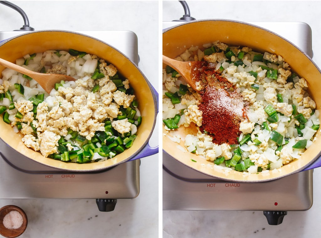 side by side photos showing the process of sauteeing the onions, peppers, garlic and spices when making vegan chili mac.