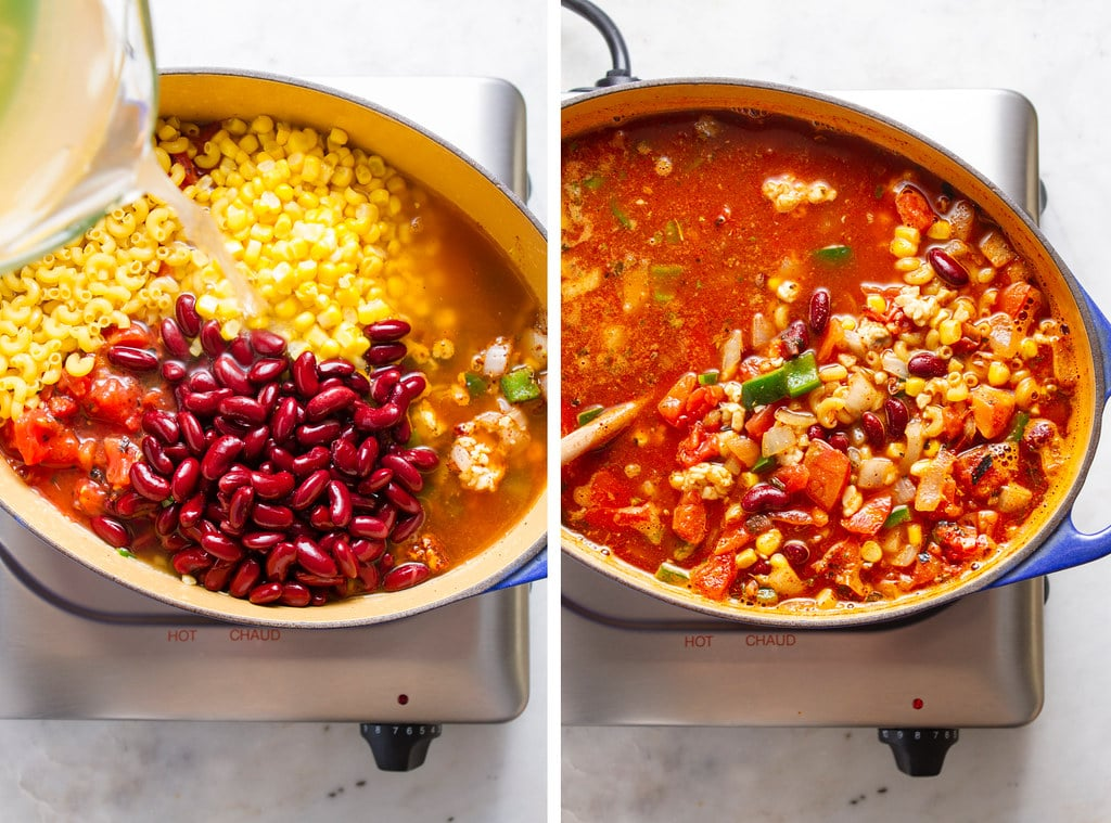 side by side photos showing the process of adding remaining ingredients and simmering vegan chili mac in a dutch oven.