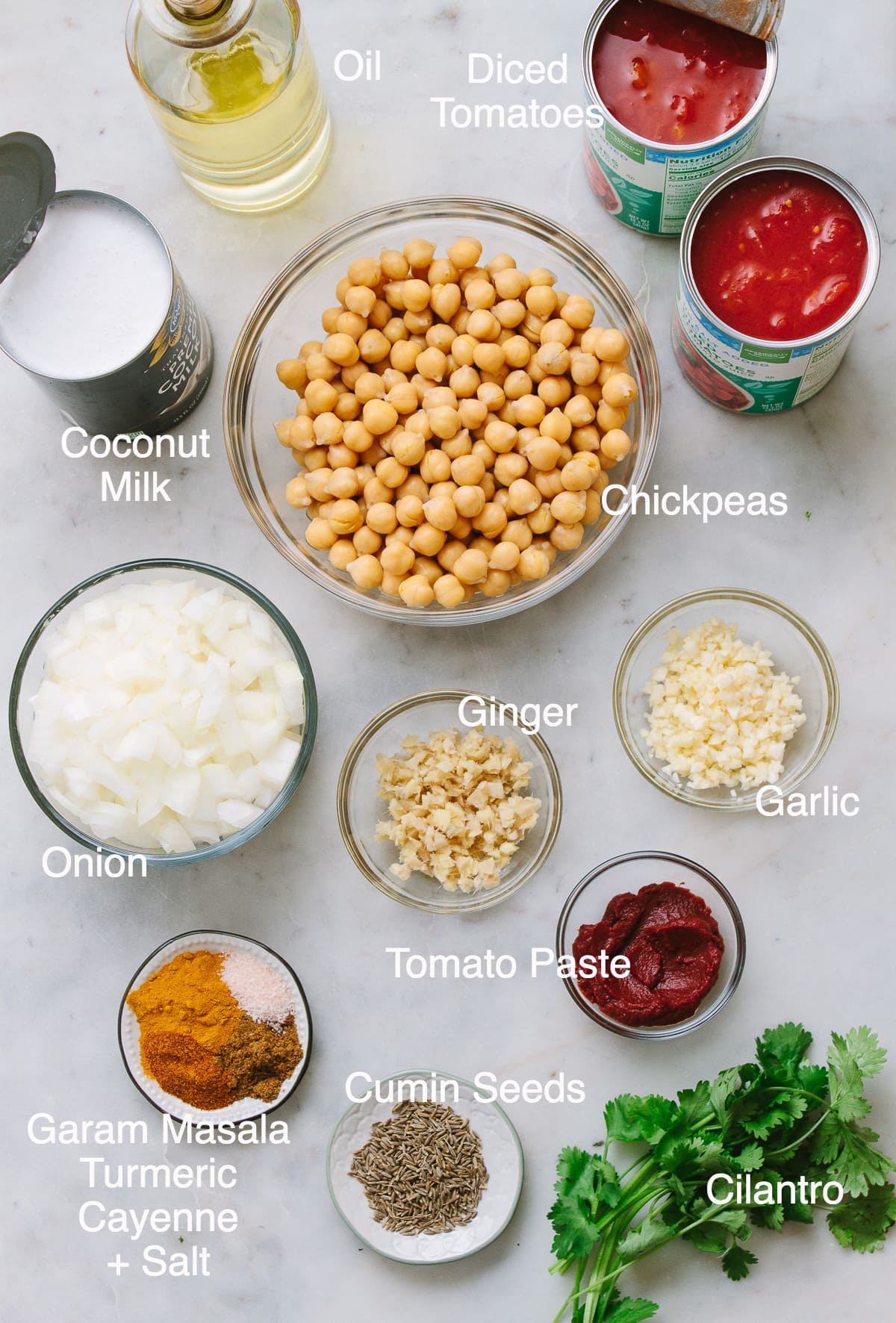 top down view of ingredients needed to make healthy chickpea tikka masala.