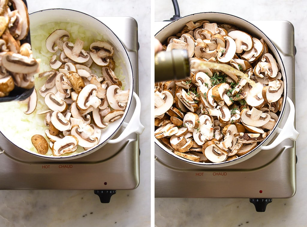 side by side photos showing the process of making vegan mushroom soup.