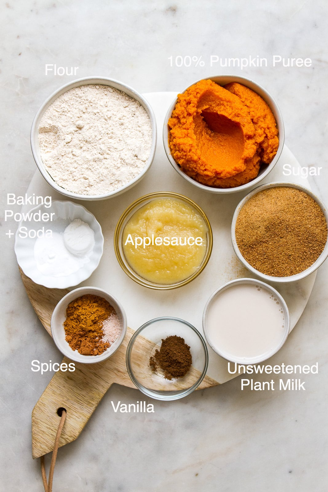 top down view of the ingredients used to make the best vegan pumpkin muffins.