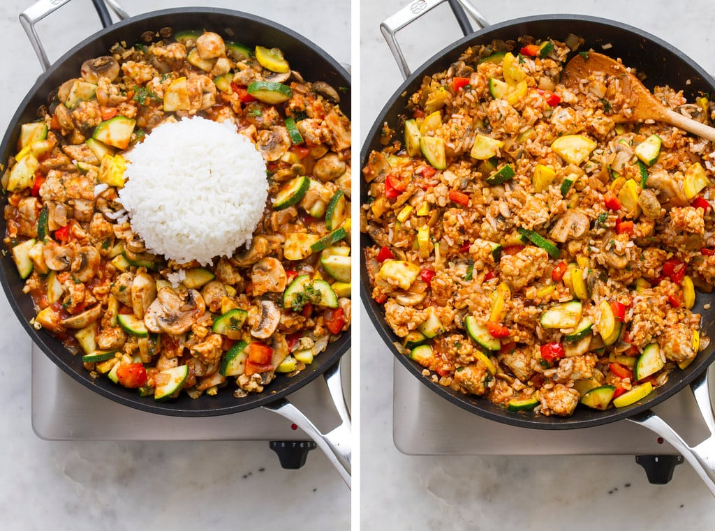 side by side photos showing the process of making the stuffing for vegan stuffed bell peppers.