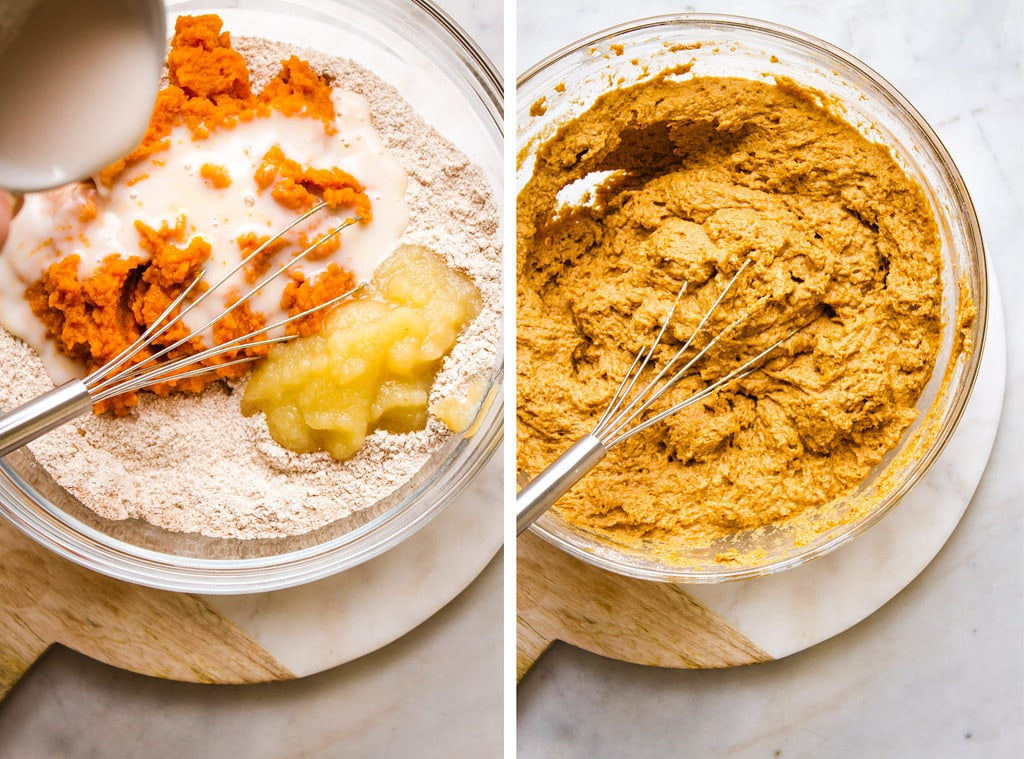 side by side photos showing the process of mixing together the vegan pumpkin muffin batter.