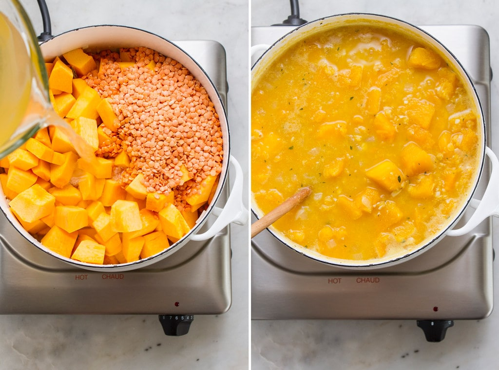 side by side photos showing the process of making vegan pumpkin soup recipe on the stovetop in a dutch oven.