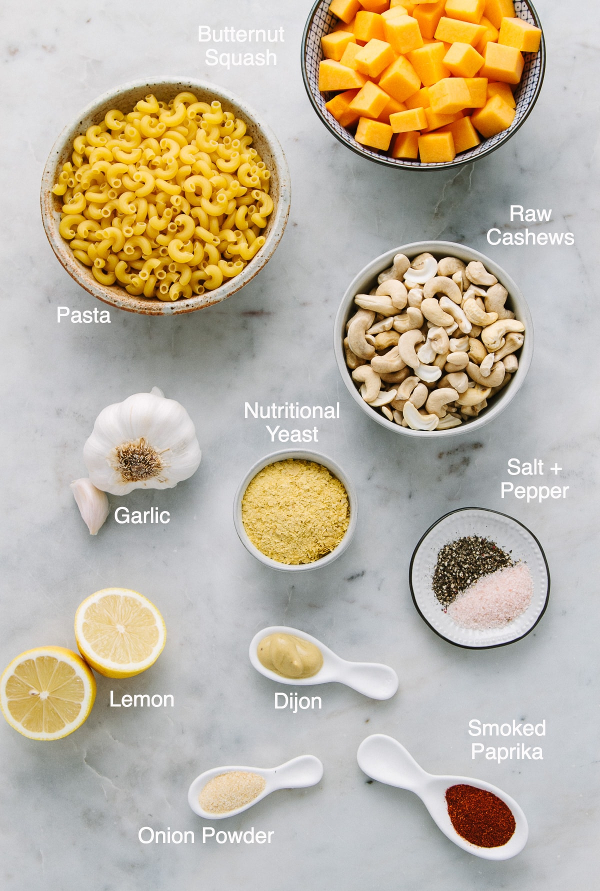 top down view of ingredients used to make vegan butternut squash mac and cheese.