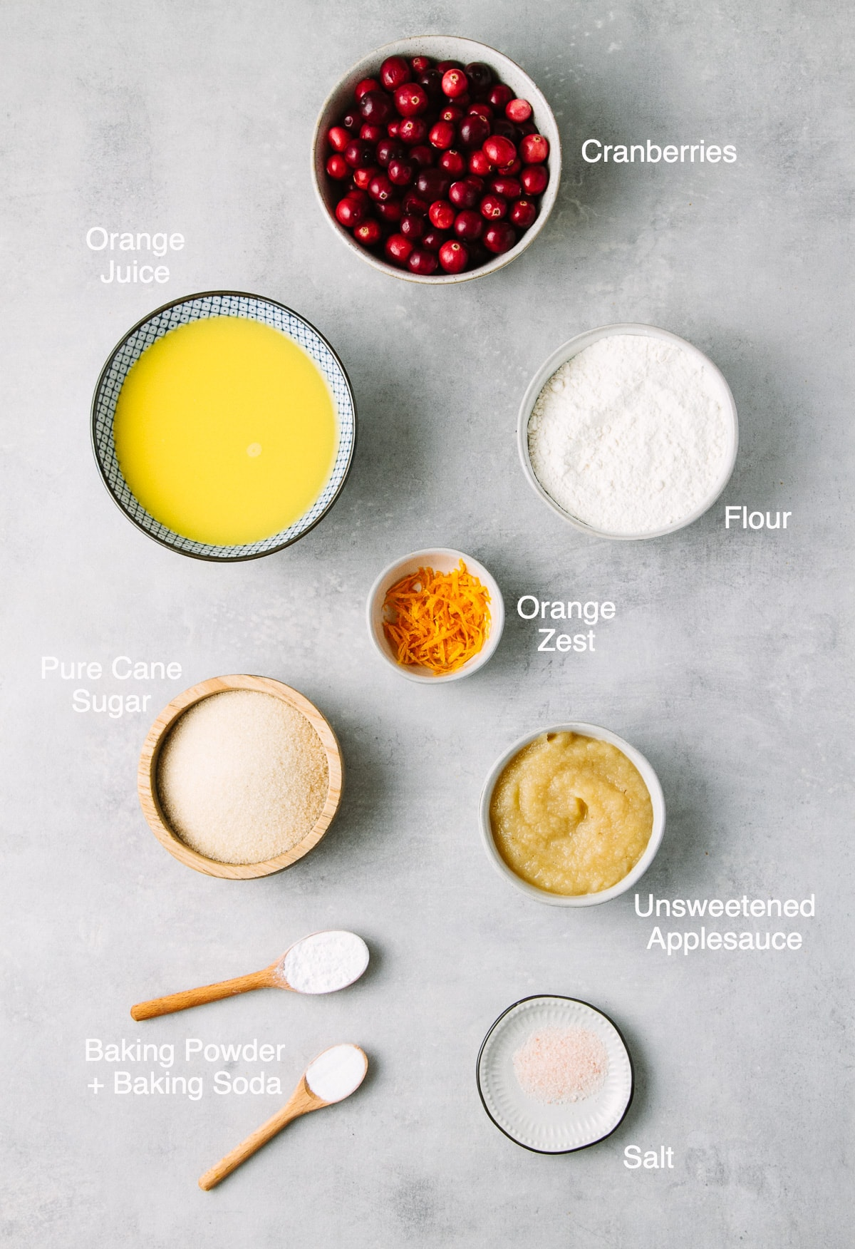 top down view of ingredients used to make healthy vegan cranberry orange muffins.