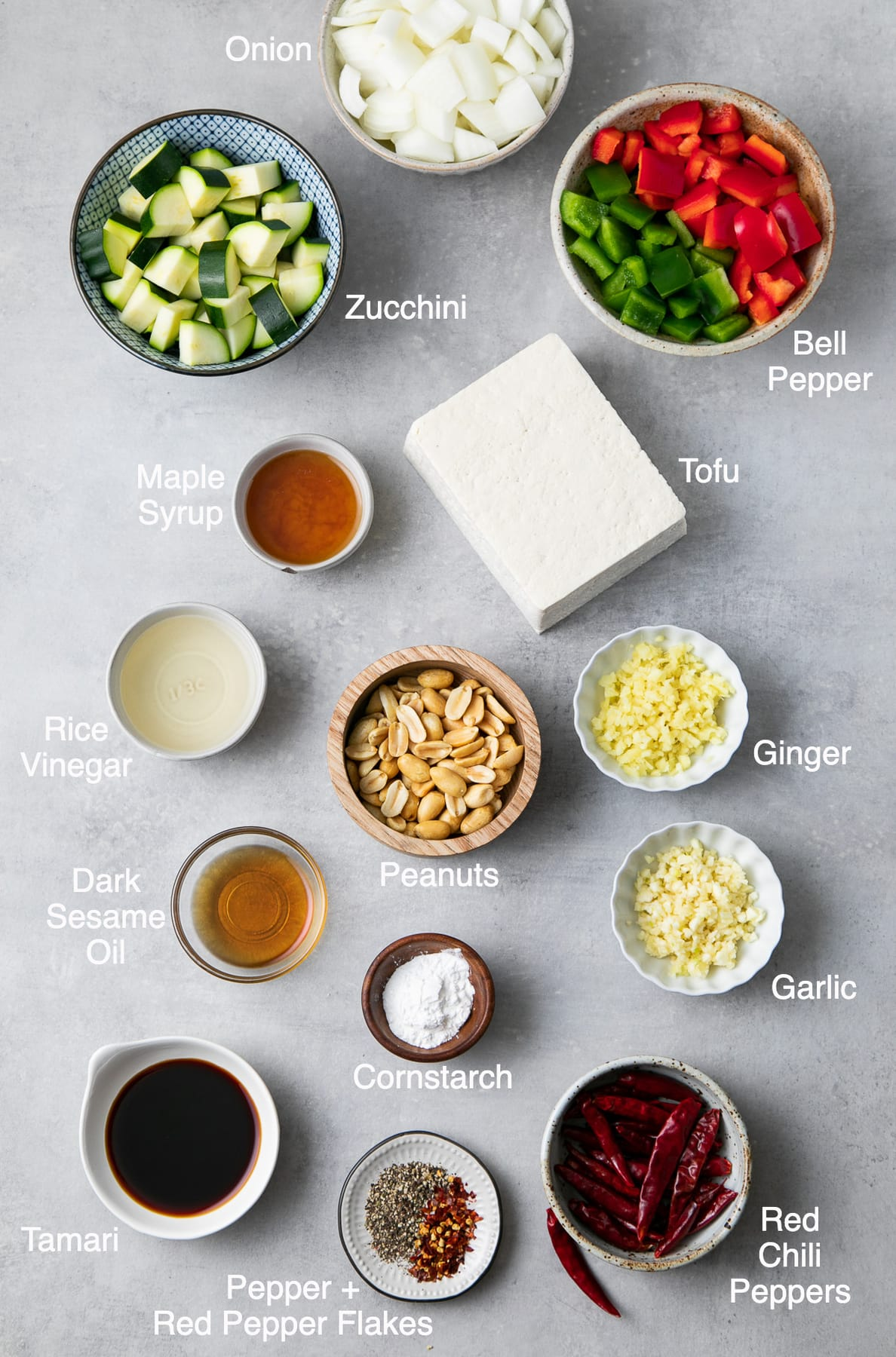 top down view of ingredients used to make healthy kung pao tofu recipe.