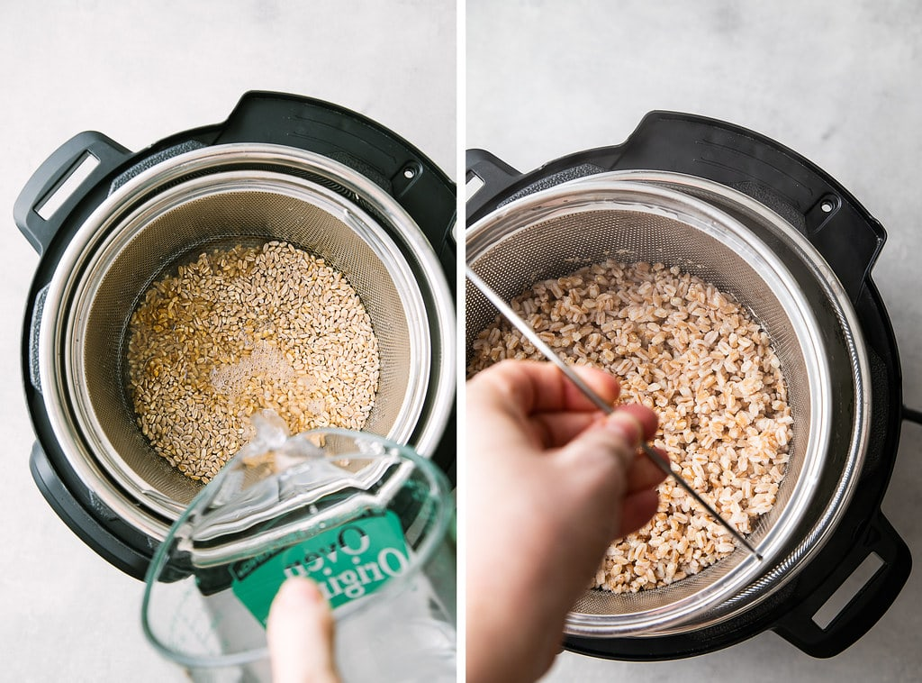 side by side photos showing the process of making instant pot farro.