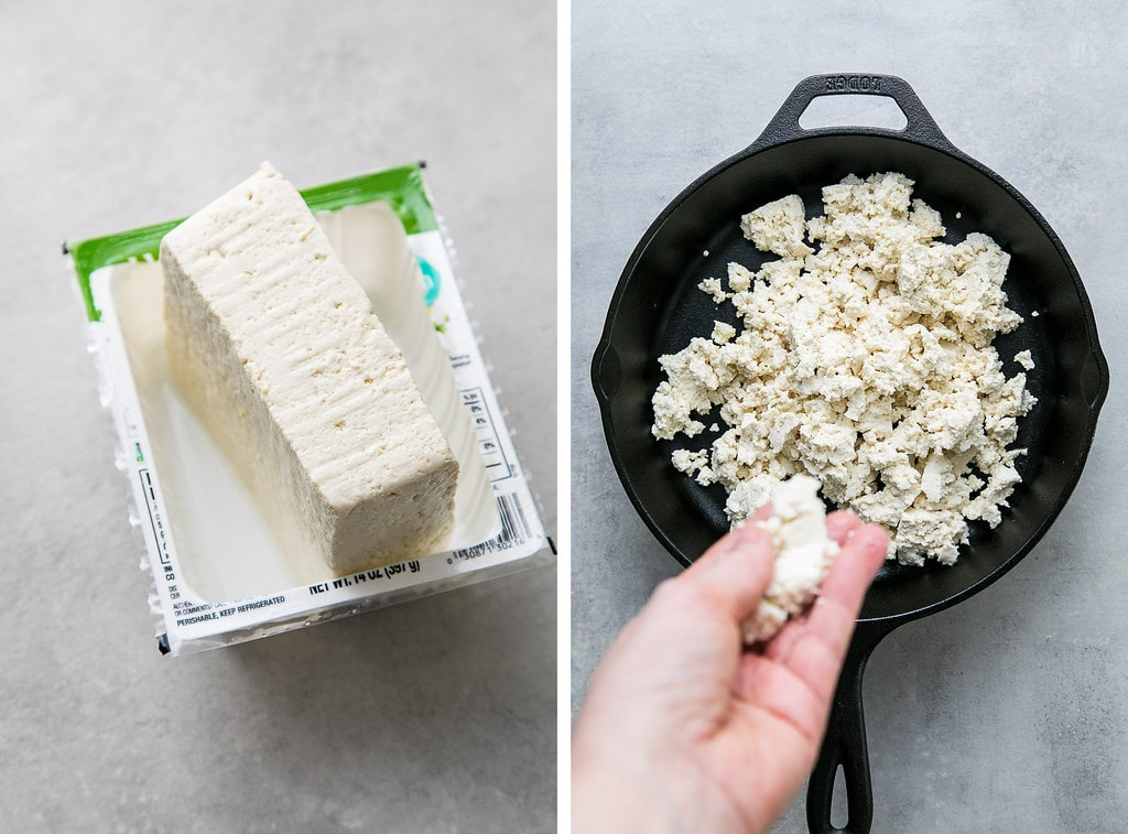 side by side photos showing the process of draining tofu and adding it to a hot skillet.