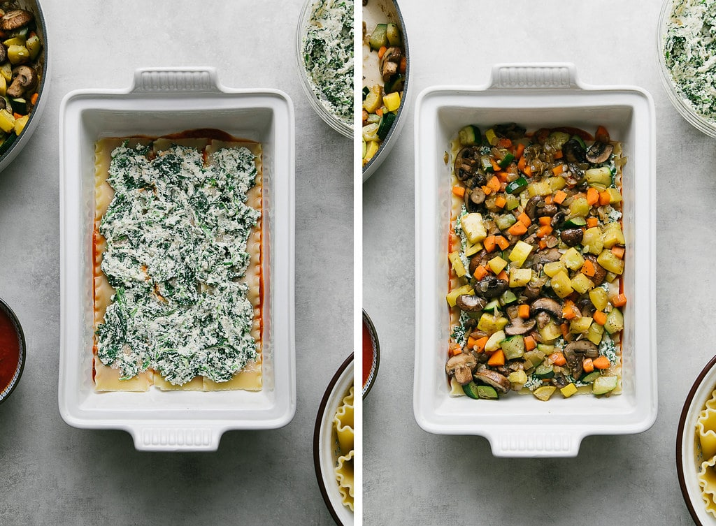 side by side photos showing the process of layering vegan lasagna.