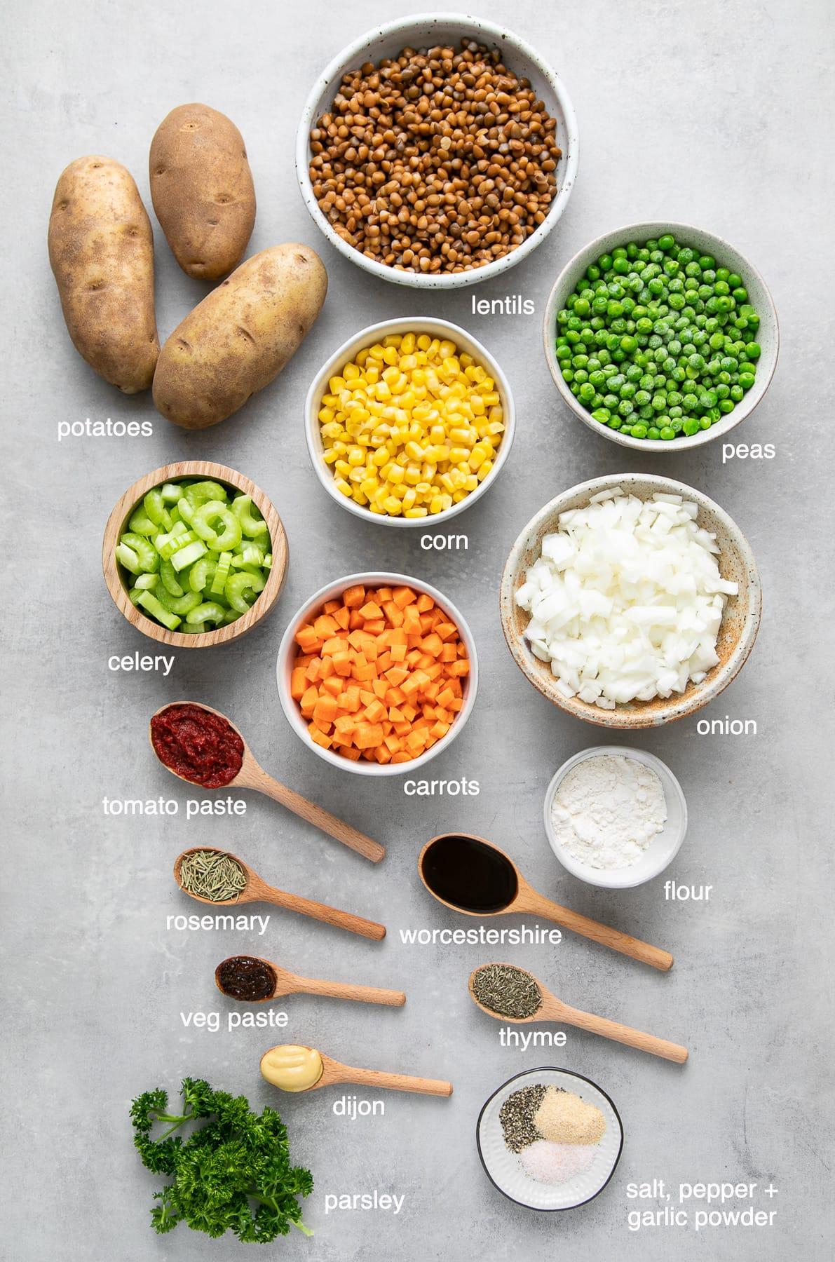 top down view of ingredients used to make vegan shepherd's pie recipe.