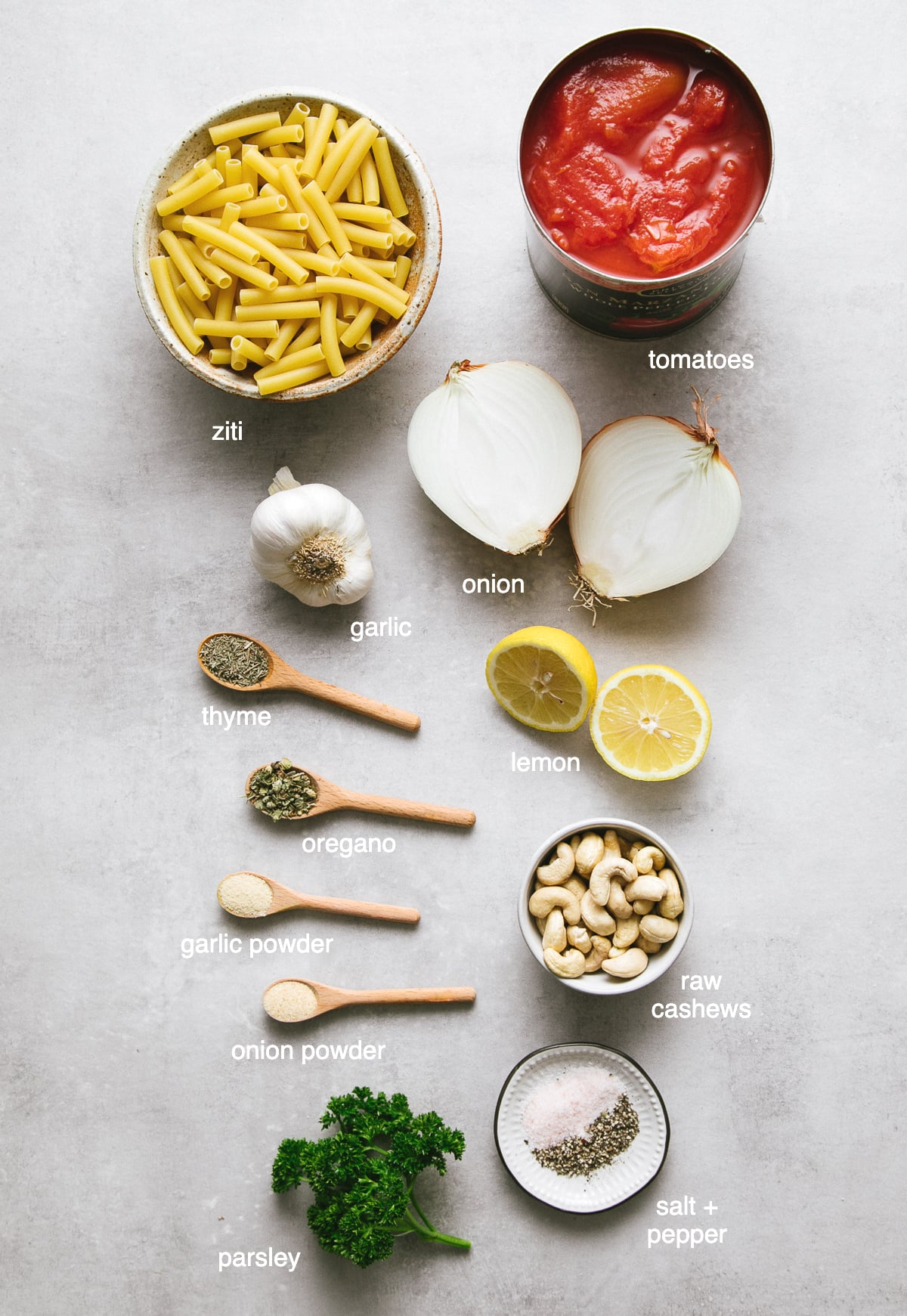 top down view of all the ingredients needed to make vegan baked ziti recipe.