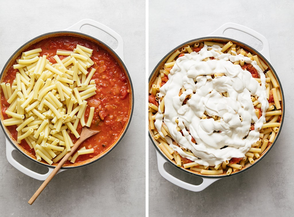side by side photos showing the process of making vegan baked ziti.