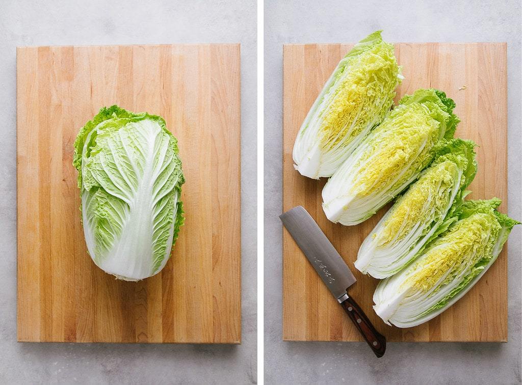 top down view showing the process of slicing cabbage.