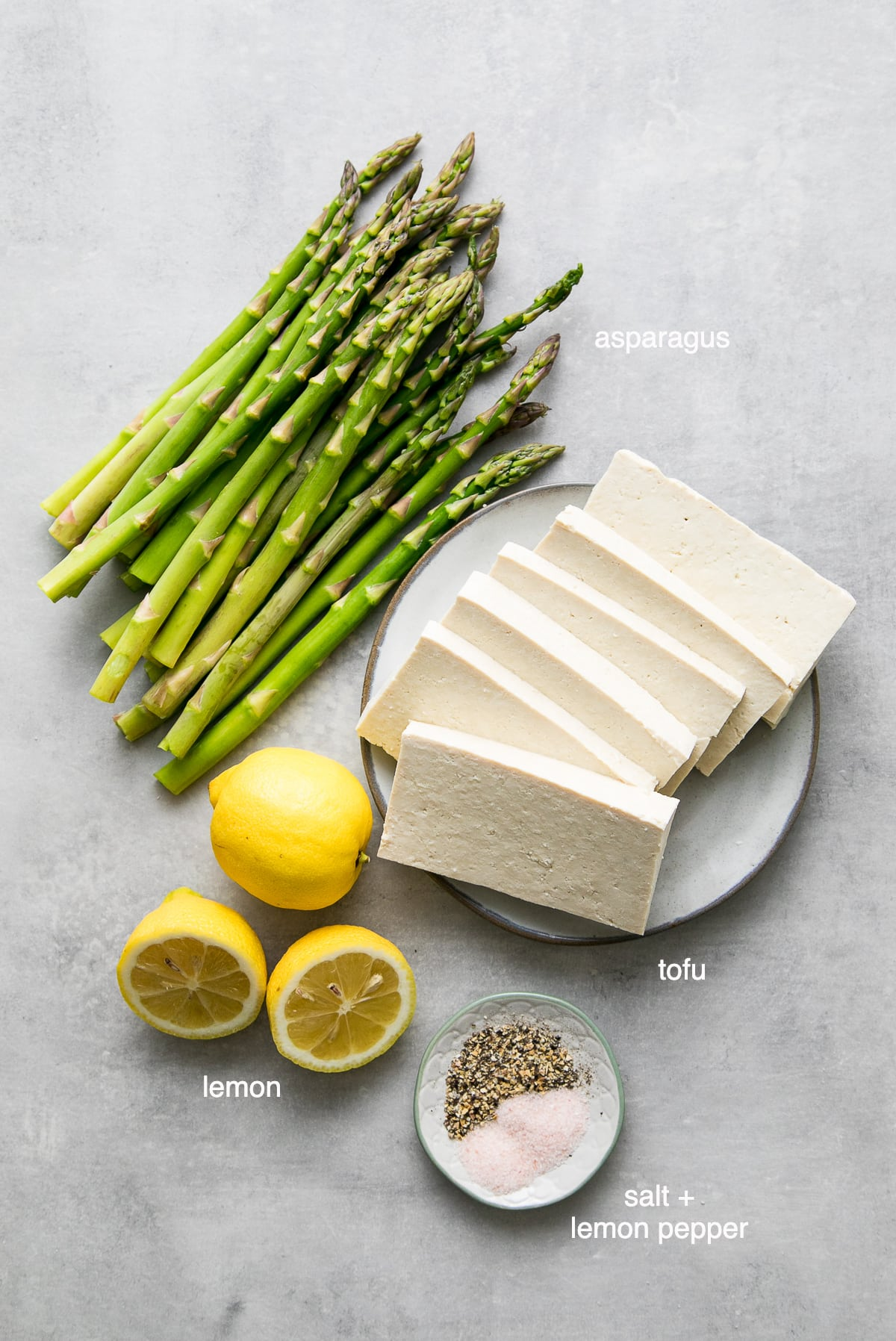 ingredients used to make baked lemon pepper tofu sheet pan dinner.