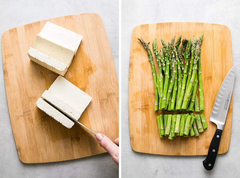 side by side photos of prepping tofu and asparagus.