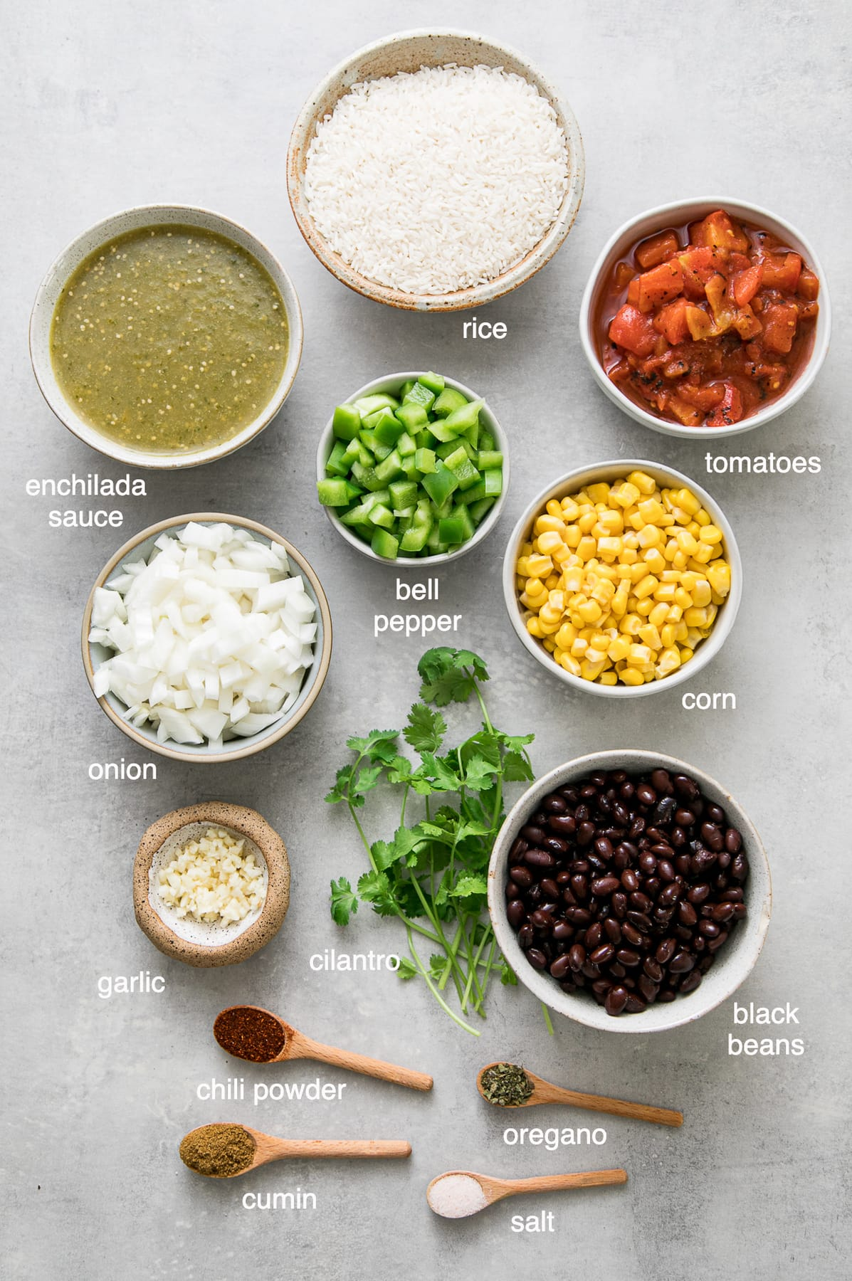 top down view of the ingredients used to the best enchilada rice recipe.
